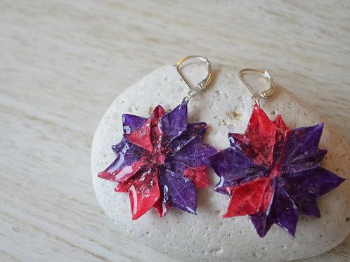 Origami Flower Earrings 紫と赤の折り紙の花のピアス
