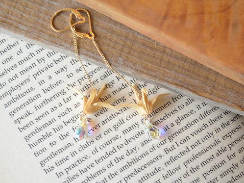 Fine Wood Origami Crane Earrings with Swarovski drop 木の紙の鶴とスワロフスキードロップのピアス