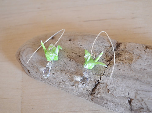 Origami Crane Earrings with Crystal 折り鶴とスワロフスキーのピアス