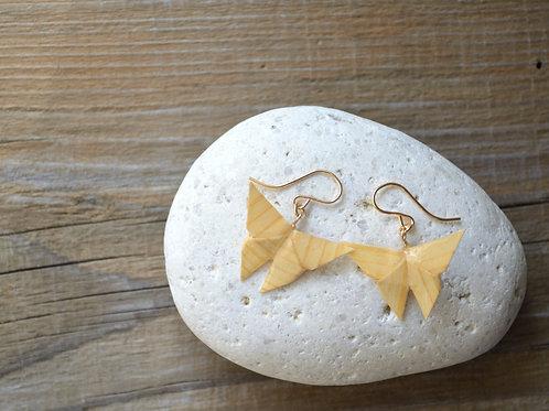 Fine Wood Origami Butterfly Earrings 木の紙の蝶のピアス