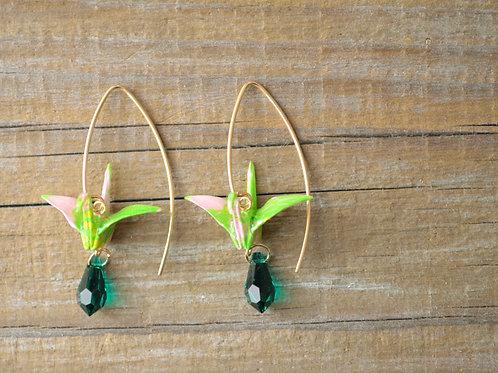 Origami Crane Earrings with Swarovski Crystal 緑の折鶴とスワロフスキードロップのピアス