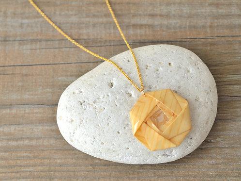 Fine Wood Camellia Origami Necklace