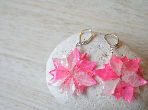 Origami Flower Earrings ピンクと白の折り紙の花のピアス
