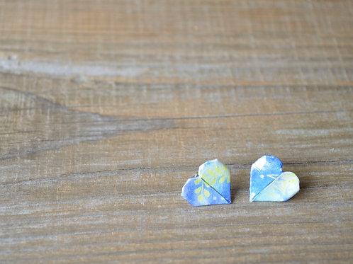 Origami Heart Stud Earrings 折り紙のハートのスタッドピアス