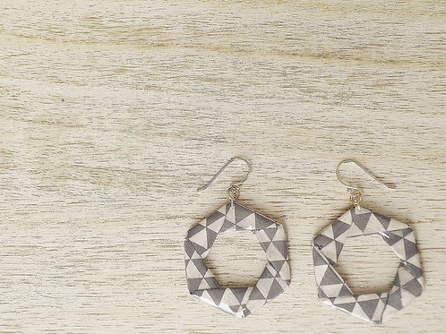 Origami Hexagon Dangle Earrings 六角形の折り紙ピアス