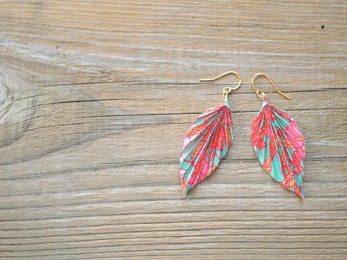 Origami Leaf Design Earrings 折り紙の葉っぱピアス