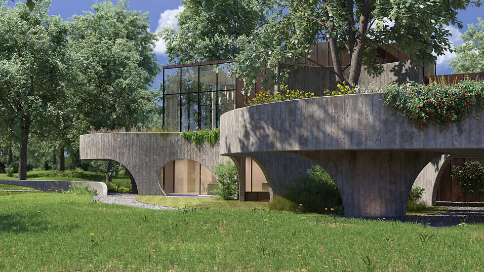 organic concrete house in Oostkamp by Claerhout-Van Biervliet Architects