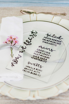 acrylic menu in black, Allie Miller Photography