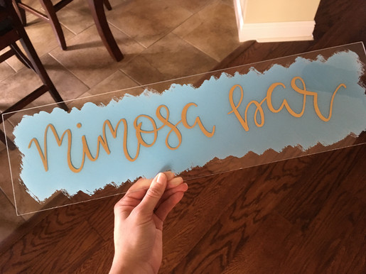 mimosa bar sign blue and gold