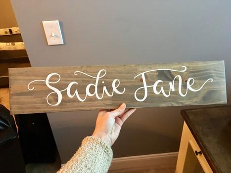 wooden nursery sign grey