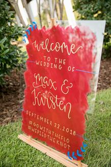 Acrylic welcome sign, Ellen LeRoy Photog