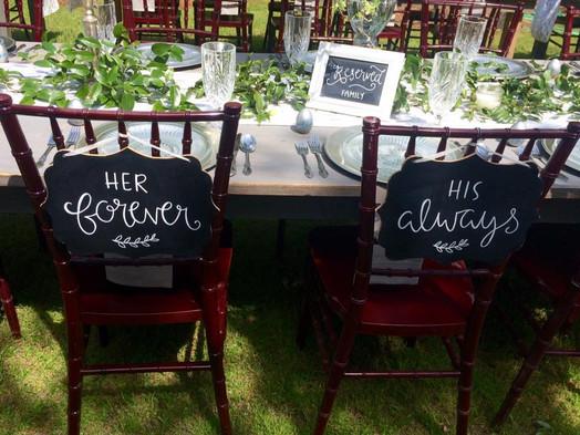 bridal table signs