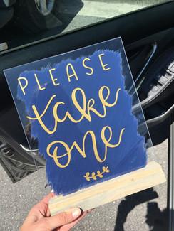 navy acrylic sign