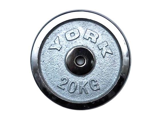 Диск для штанги хромированный YORK - 20 кг.