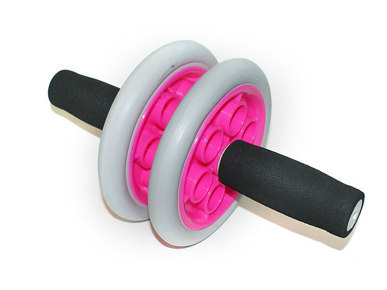 Ролик гимнастичкский SM-342 INDIGO серо-розовый с неопреновыми ручками