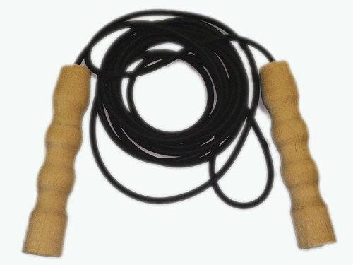 Скакалка резиновая черная 3.8 м с деревянными ручками :(00007305):