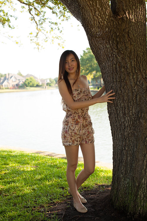Light Brown With Pink Flowers Romper
