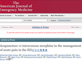 Acupuncture vs intravenous morphine in the management of acute pain in the ED