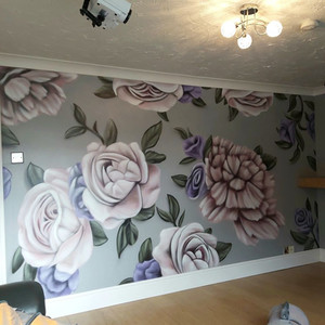 Floral Interior Hand Painted Mural