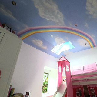 Rainbow Ceiling Interior Hand Painted Mural