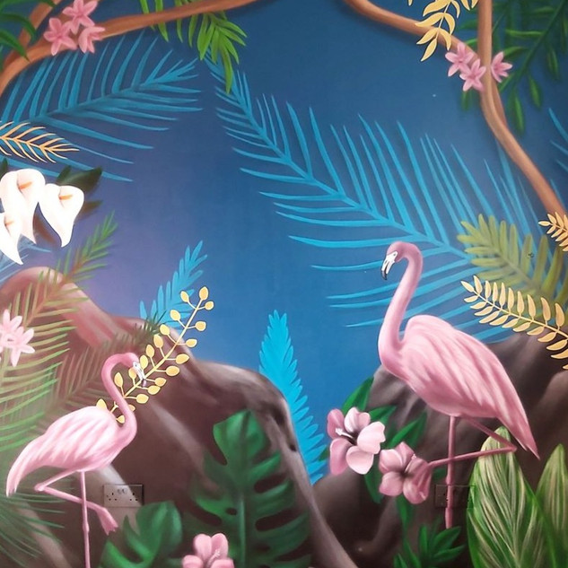 Tropical Flamingo Interior Hand Painted Mural