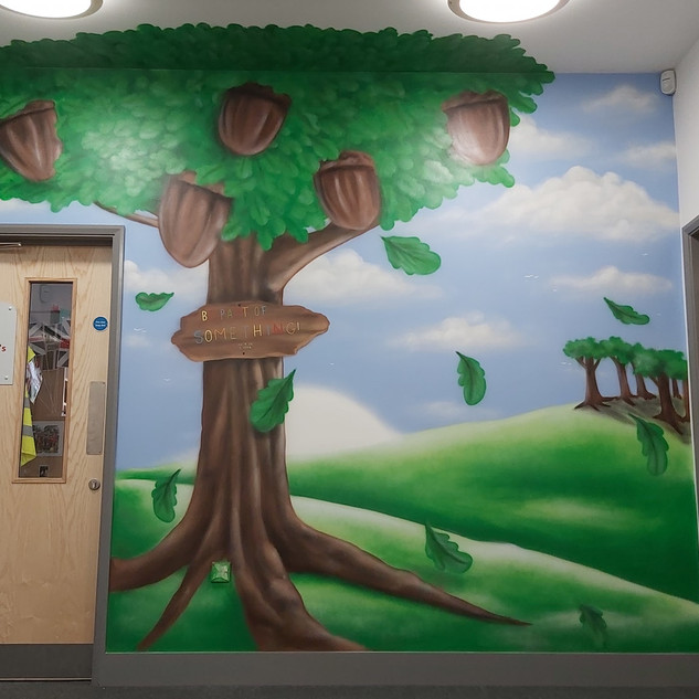 Acorn Tree Interior Hand Painted Mural