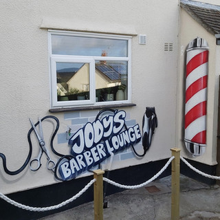 Jodys Barber Shop Logo and Poll Exterior Hand Painted Mural
