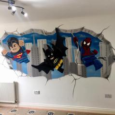 Lego Superhero Interior Hand Painted Mural