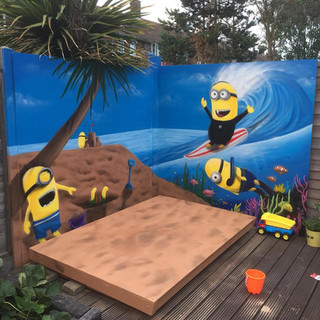 Minion Play Area Exterior Hand Painted Mural