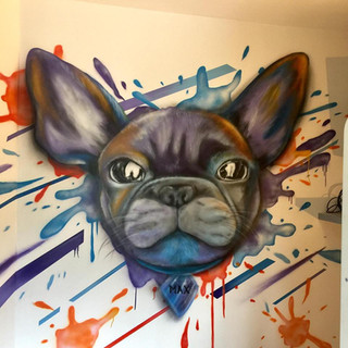 Street Art Style French Bulldog Interior Hand Painted Mural