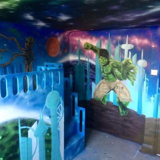 Marvel Full Bedroom Ceiling  Interior Hand Painted Mural