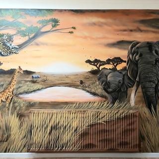 African Safari Interior Hand Painted Mural