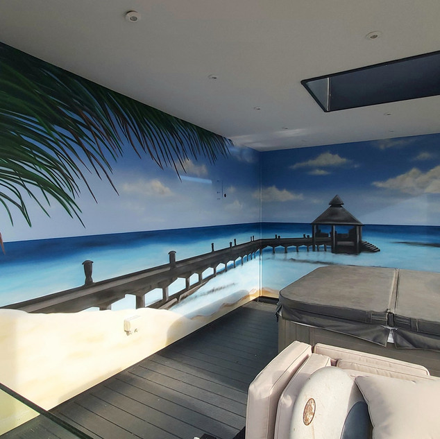 Paradise Exterior Hand Painted Mural