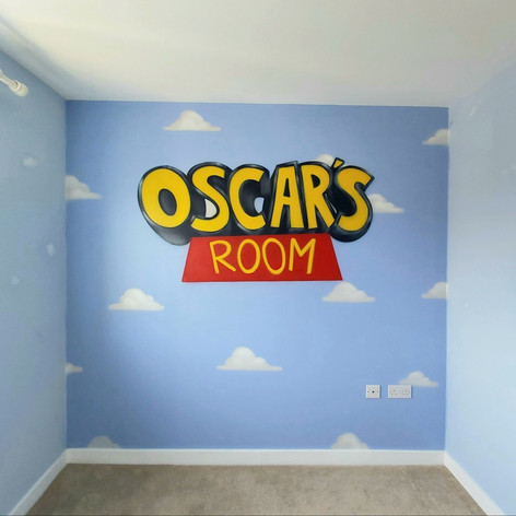 Toy Story Themed Name Interior Hand Painted Mural