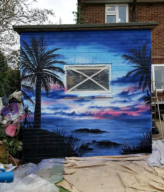 sunset Exterior Hand Painted Mural