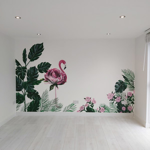 Floral Flamingo Interior Hand Painted Mural
