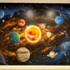 Solar System Interior Hand Painted Mural