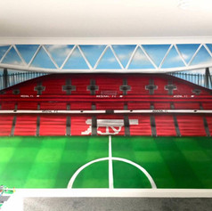 Football Stadium Interior Hand Painted Mural