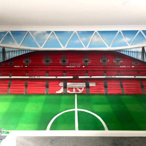 Football Stadium Interior Hand Painted Mural
