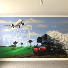 Transport Interior Hand Painted Mural
