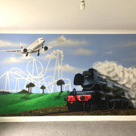 Transport Interior Hand Painted Mural