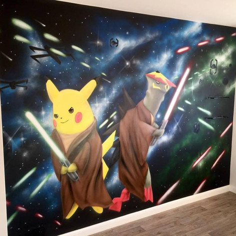 Pokemon Star Wars Mash up Interior Hand Painted Mural