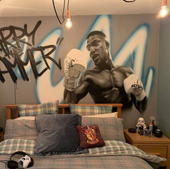 Anthony Joshua Boxing Interior Hand Painted Mural