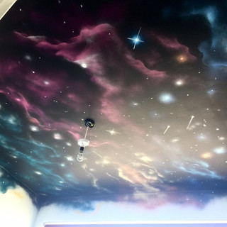 Galaxy Space Ceiling Interior Hand Painted Mural
