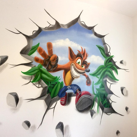 Crash Bandit Interior Hand Painted Mural