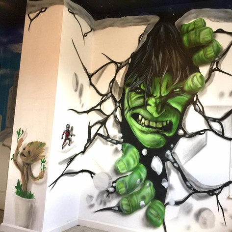 Hulk Marvel Interior Hand Painted Mural