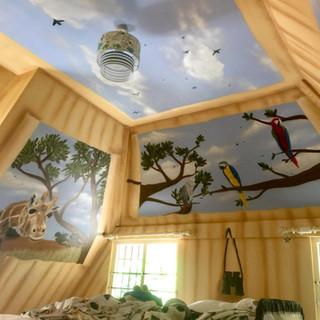 Safari Tent Ceiling Interior Hand Painted Mural