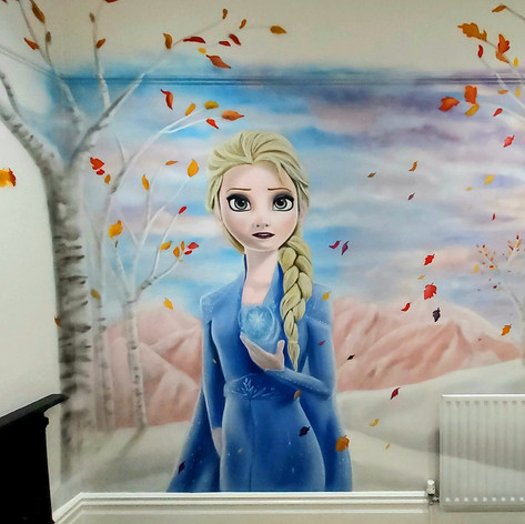 Frozen Elsa Interior Hand Painted Mural