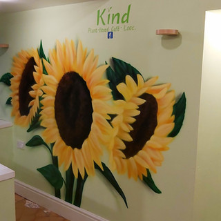 Kind, Vegan Cafe Interior Hand Painted Mural