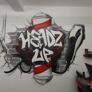 Headz Up Barbers Interior Hand Painted Mural